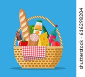wicker picnic basket with... | Shutterstock .eps vector #616298204
