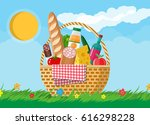 wicker picnic basket full of... | Shutterstock .eps vector #616298228