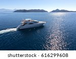 luxury yacht aerial view | Shutterstock . vector #616299608