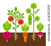 cute vegetables with smiling... | Shutterstock .eps vector #616302203