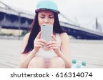 pretty young white girl taking... | Shutterstock . vector #616314074