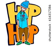 teen rapper stands on the... | Shutterstock .eps vector #616317386