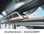 concept of magnetic levitation... | Shutterstock . vector #616323809