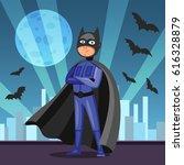 cartoon superhero in black cape.... | Shutterstock .eps vector #616328879