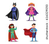 set of cartoon super heroes.... | Shutterstock .eps vector #616329050