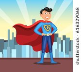 cartoon superhero in red cape.... | Shutterstock .eps vector #616329068