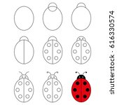 step by step drawing tutorial...   Shutterstock .eps vector #616330574
