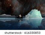 icebergs under the milky way.... | Shutterstock . vector #616330853