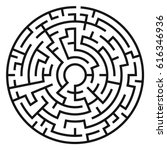 circle maze. labyrinth with... | Shutterstock .eps vector #616346936