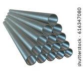 stack of steel metal pipes. 3d... | Shutterstock . vector #616347080