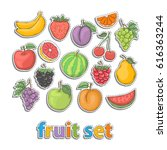 fruit set.vector hand draw in... | Shutterstock .eps vector #616363244