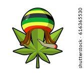 leaf marijuana and reggae cap... | Shutterstock . vector #616365530