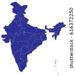 high detailed blue vector map   ... | Shutterstock .eps vector #616372250