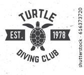 turtle diving club. vector... | Shutterstock .eps vector #616373720