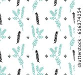 pattern with plants and flowers | Shutterstock . vector #616374254