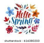 hello spring  lettering. flower ... | Shutterstock . vector #616380203