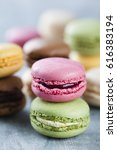 stacked high quality macaroons | Shutterstock . vector #616383194