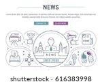 flat line illustration of news. ... | Shutterstock .eps vector #616383998