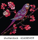 flowering branch with a bird on ... | Shutterstock .eps vector #616385459