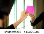 woman sticking empty space  ... | Shutterstock . vector #616390688