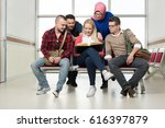 students reading and making... | Shutterstock . vector #616397879