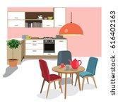 kitchen dining room ... | Shutterstock .eps vector #616402163