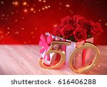 birthday concept with red roses ... | Shutterstock . vector #616406288