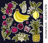 set of roses and fruit patches... | Shutterstock .eps vector #616407698