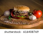delicious cheeseburger with... | Shutterstock . vector #616408769