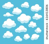 clouds set icons vector... | Shutterstock .eps vector #616413806