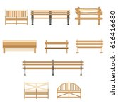 wooden one park outdoor bench... | Shutterstock .eps vector #616416680