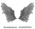 hand drawn vintage wings pair.... | Shutterstock .eps vector #616424414