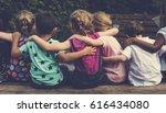 group of kindergarten kids... | Shutterstock . vector #616434080