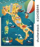 colorful italy travel map with... | Shutterstock . vector #616438844
