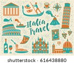 cartoon style italy travel... | Shutterstock . vector #616438880