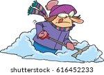 cartoon woman shoveling snow   Shutterstock .eps vector #616452233