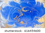 blue and golden liquid texture. ... | Shutterstock . vector #616454600