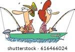 Cartoon Couple Fishing Together