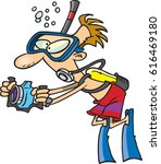 cartoon scuba diver with a... | Shutterstock .eps vector #616469180