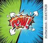pow  comic speech bubble ... | Shutterstock .eps vector #616473428