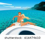 young beautiful couple in love... | Shutterstock .eps vector #616474610