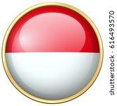 Indonesia Flag On Round Badge...