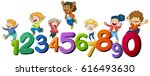 kids and numbers 1 to 10 | Shutterstock .eps vector #616493630