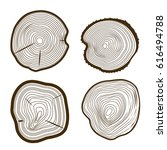 tree rings set saw cut trunk... | Shutterstock .eps vector #616494788