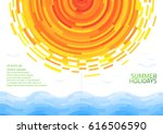 brochure with abstract sun and... | Shutterstock .eps vector #616506590
