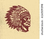 native american chief head... | Shutterstock .eps vector #616509398