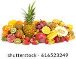 fresh tropical fruits against... | Shutterstock . vector #616523249