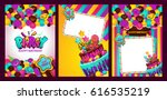 greeting card with birthday... | Shutterstock .eps vector #616535219