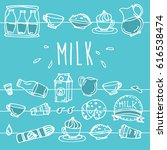milk product banner. hand drawn ... | Shutterstock .eps vector #616538474