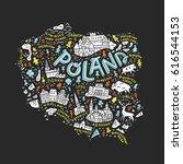 cartoon map of poland. hand...   Shutterstock .eps vector #616544153